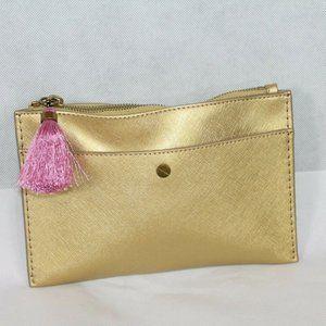 ❤️NWT JCrew Gold with Pink-Black Tassle ZipClutch